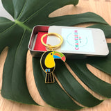 toucan keyring, toucan keychain, toucan key ring, toucan key chain, toucan accessory, tropical accessory, summer keyring, tropical keyring, toucan gift, keyring gift, enamel keyring, toucan enamel keyring, bird keyring