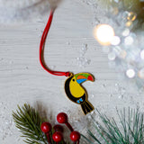 toucan christmas tree decoration, toucan xmas tree decoration, toucan hanging decoration, tropical decoration for xmas tree, bird christmas tree decoration, different christmas bauble, non traditional christmas bauble, alternative christmas bauble, alternative christmas tree decoration, alternative xmas tree decoration