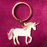 unicorn keyring on pink background