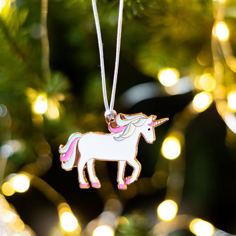 unicorn tree decoration, unicorn secret santa gift, unicorn christmas eve box, unicorn stocking filler, xmas gift for unicorn lover, christmas bauble for girl