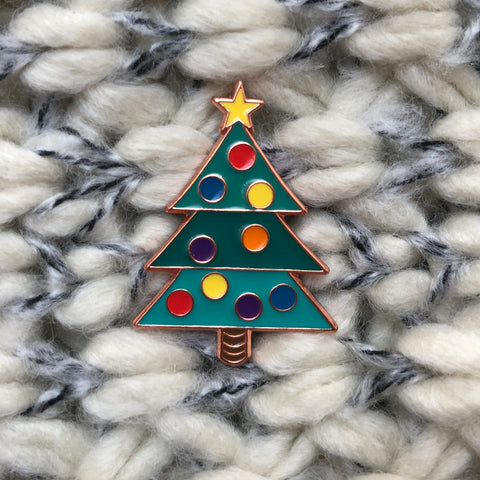 christmas badge, christmas tree enamel pin, christmas jumper badge, christmas accessory, stylish christmas accessory, tasteful christmas accessory, christmas pin