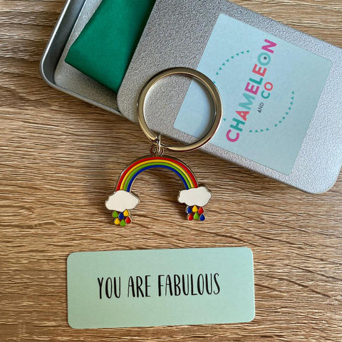 you are fabulous rainbow keyring, rainbow keyring chameleon and co, rainbow, rainbow accessory, rainbow key ring, rainbow key fob, rainbow decoration for bag