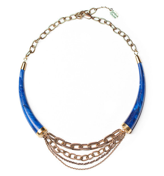 Lapis blue collar necklace choker