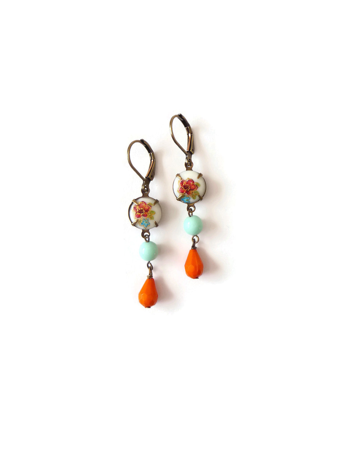 Retro earrings with decal cabochons mont green beads and orange drops