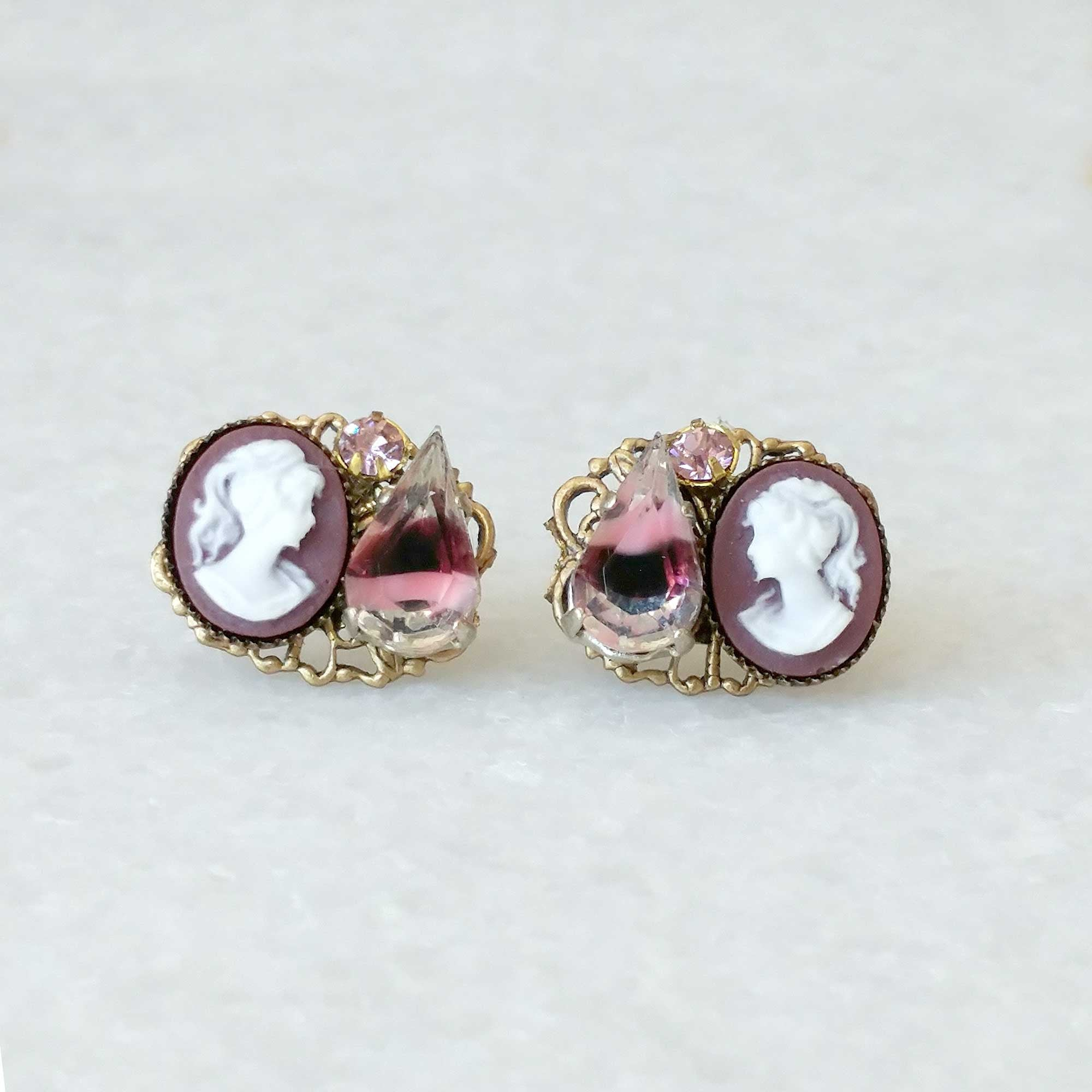 amethyst cluster ear post cameo earrings