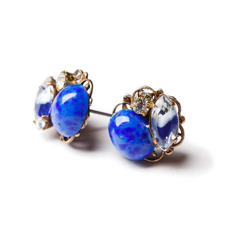 lapis blue ear posts cluster earrings
