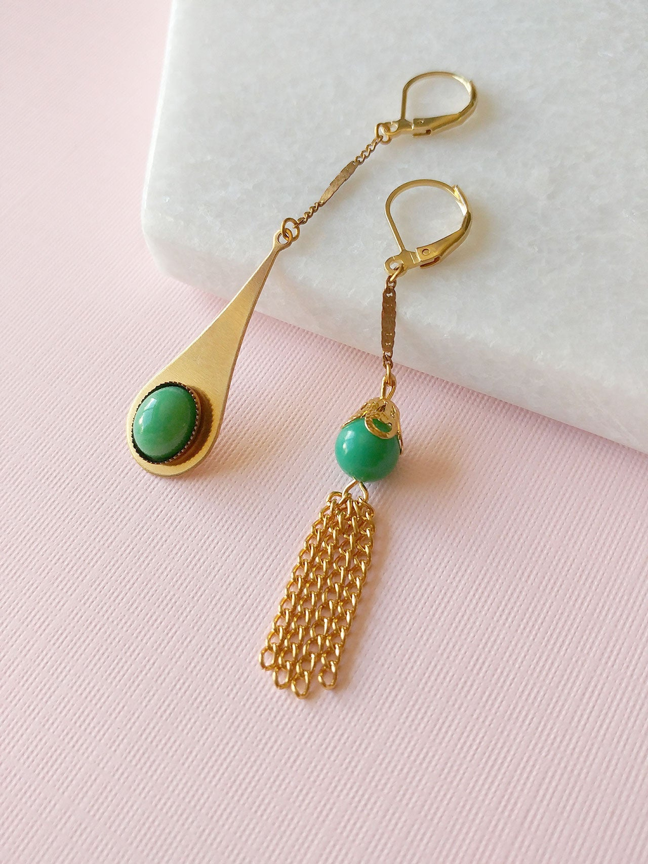 asymmetrical earrings green gold tassel mismatched