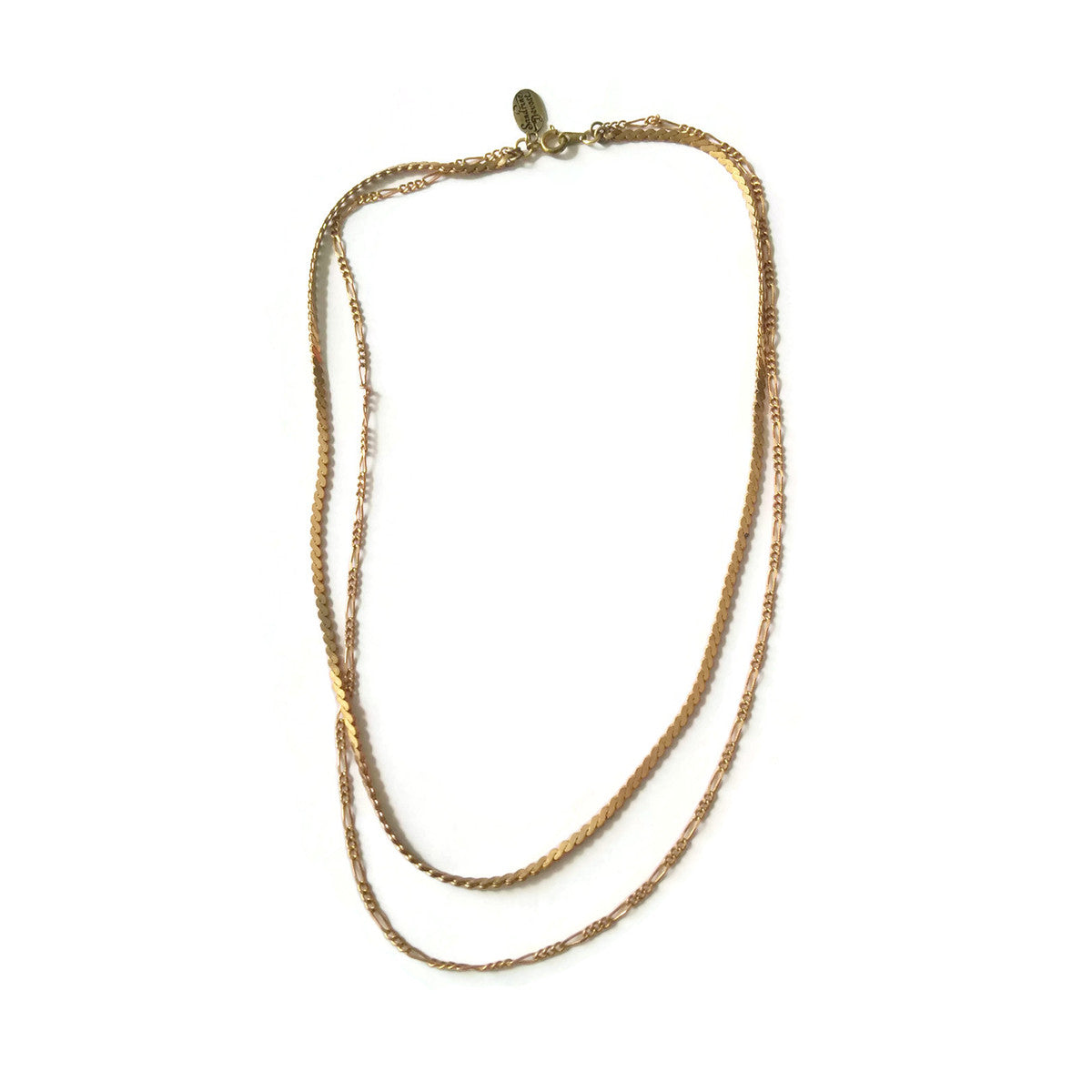 Multi layers necklace with vintage brass chains