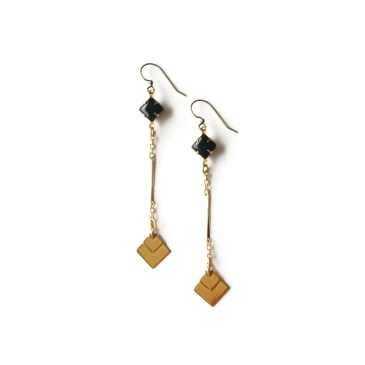 Black earrings with golden fans geometric jewellery