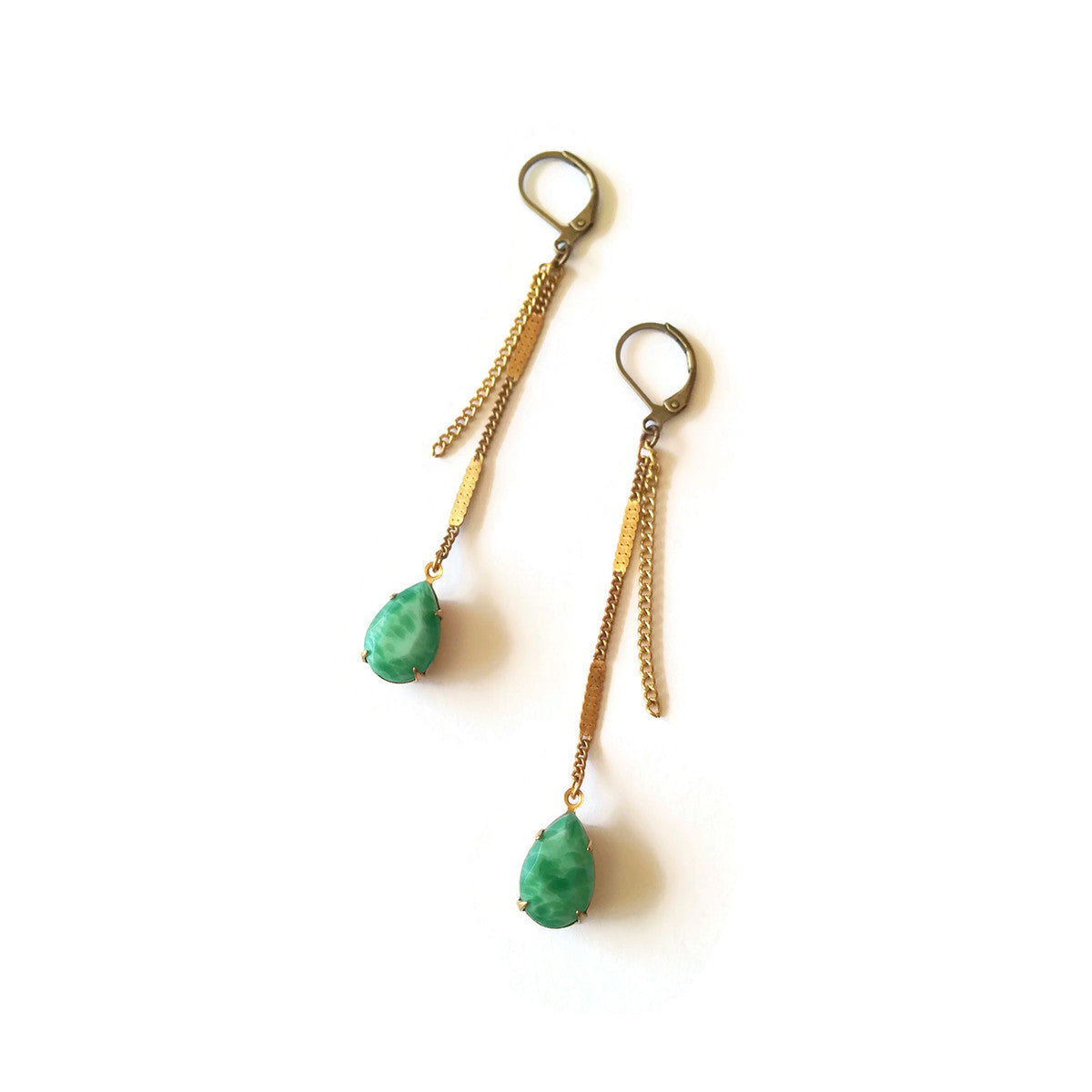 Jade green earrings with chains