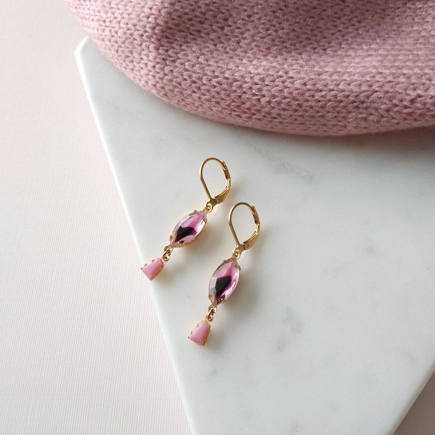 Purple earrings pink