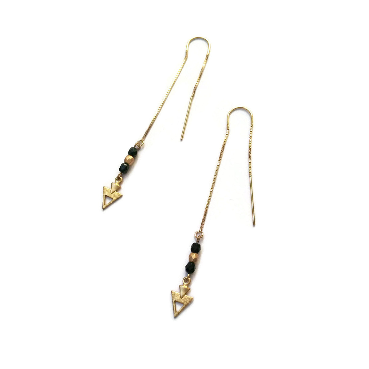 Black and gold threader earrings with small arrows