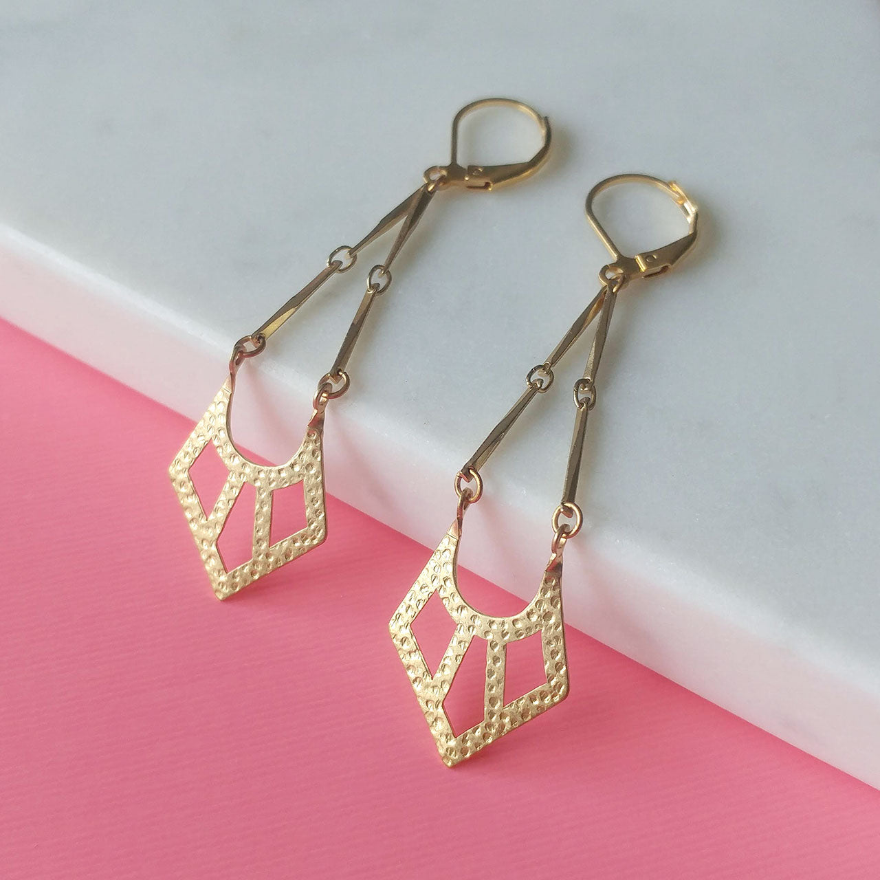 Geometrical earrings brass pendants