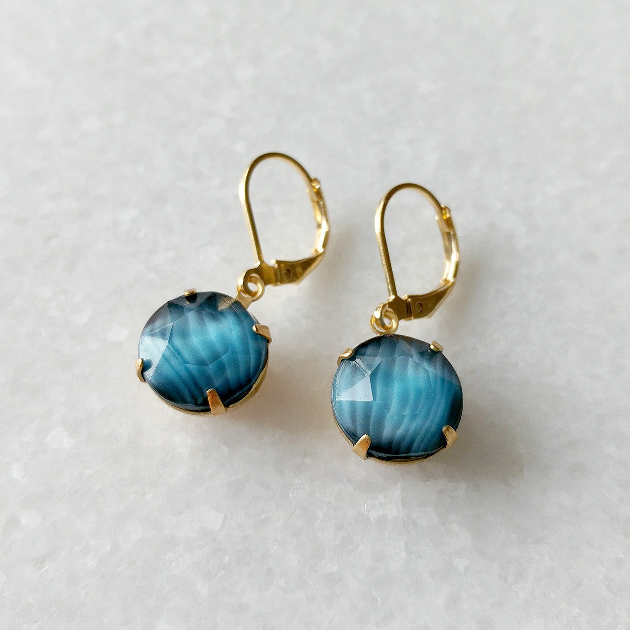 Simple Round Drop Earrings in teal (SD1255)
