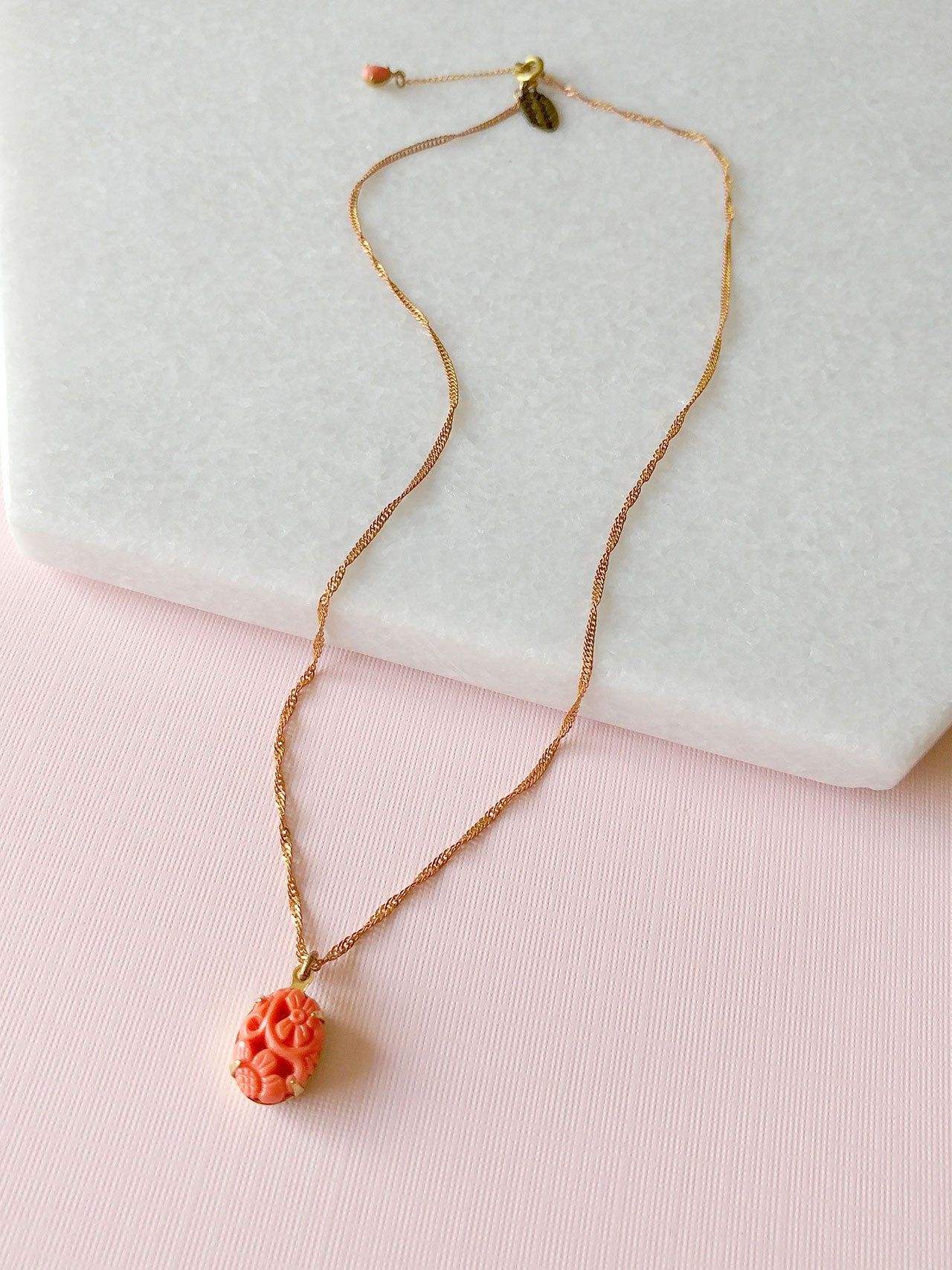 coral charm necklace