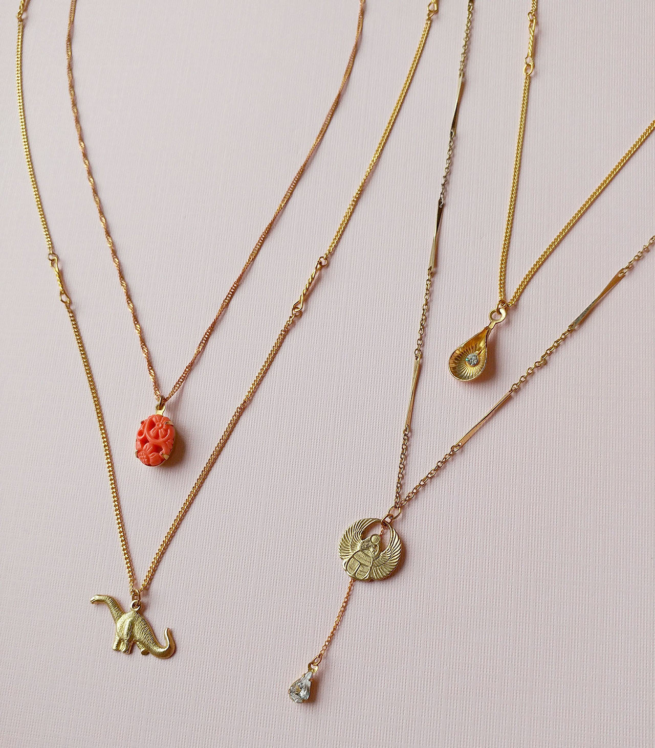 multi layers charm necklaces