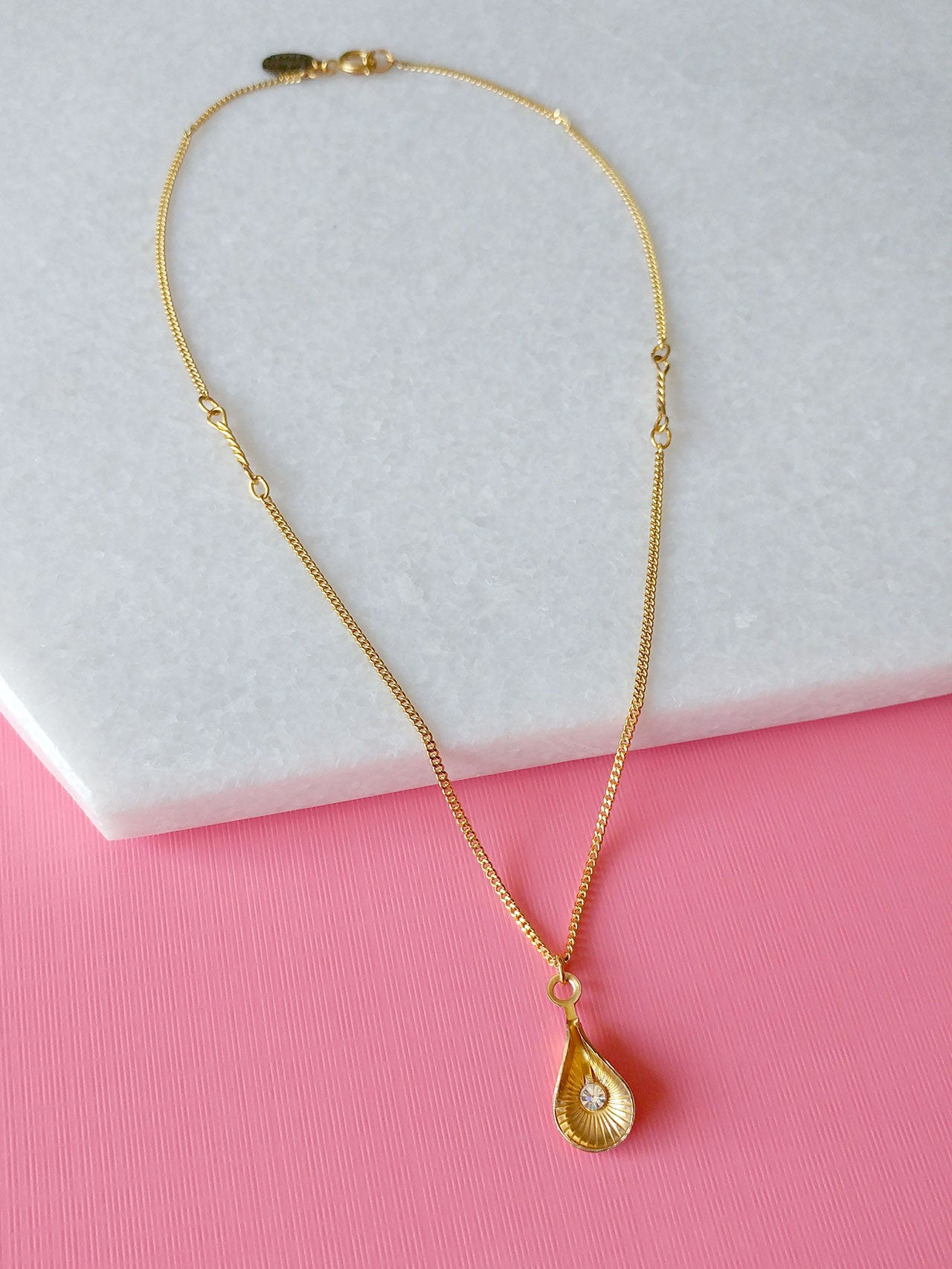 gold charm necklace crystal