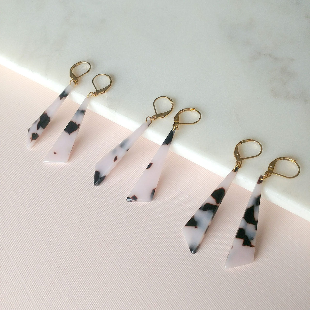 acetate earrings triangle