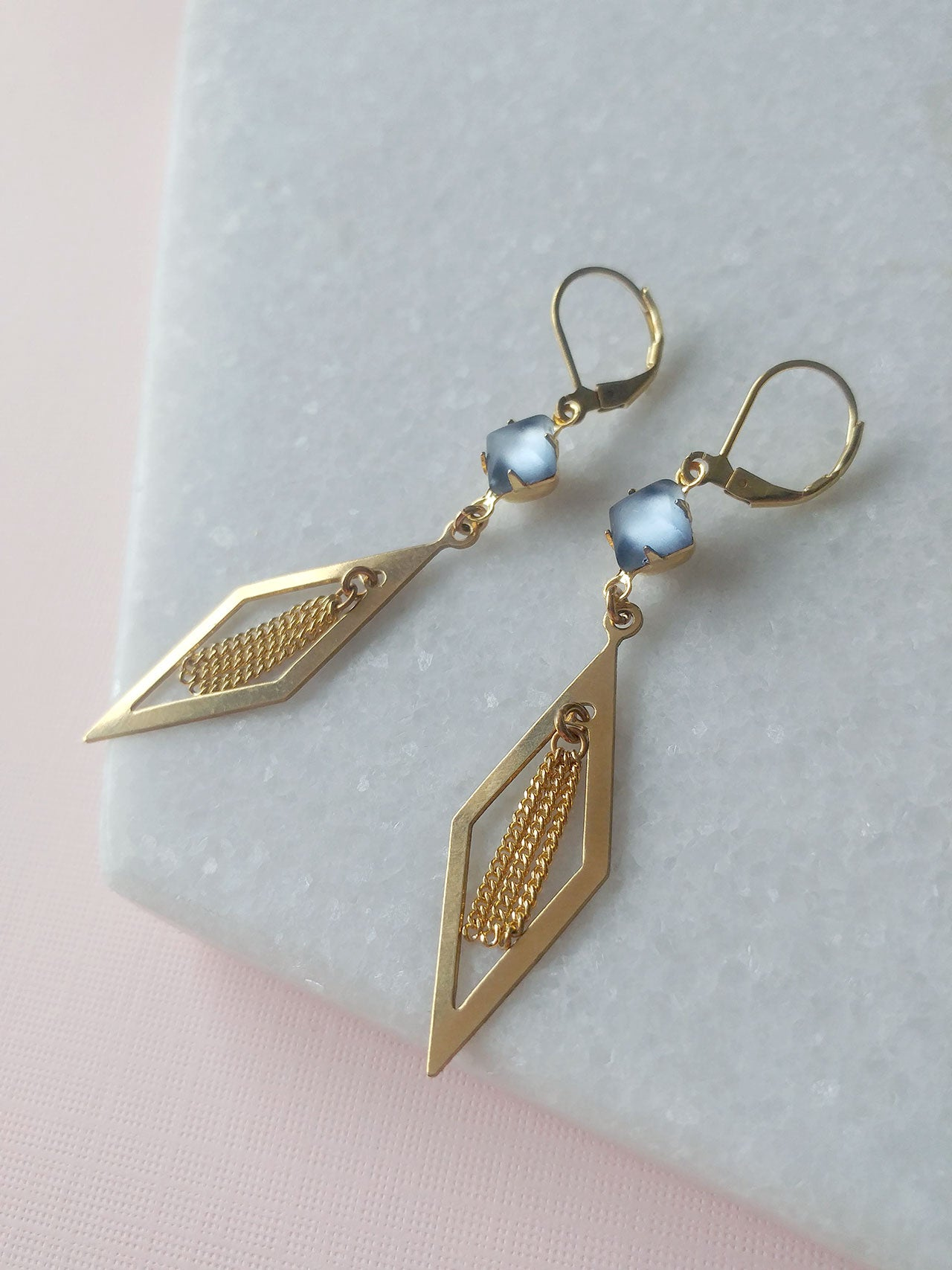 frosted glass earrings tassels