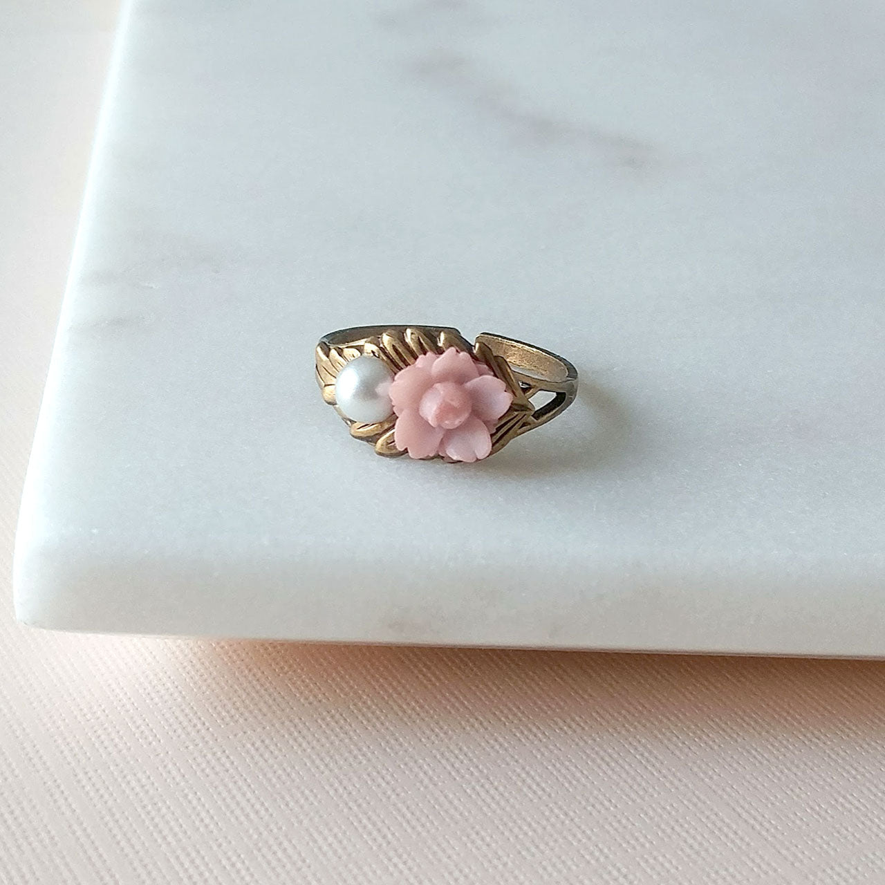 Sakura pink flower brass ring