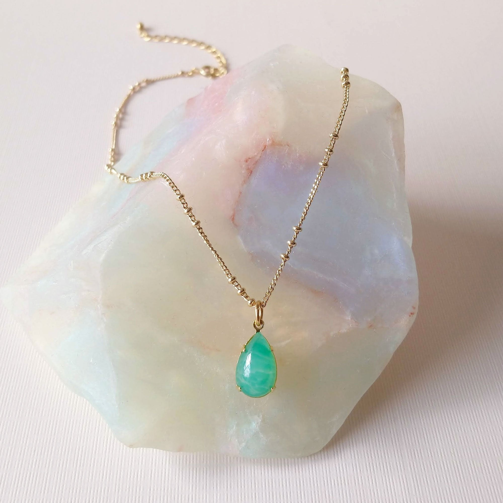 Jade green drop necklace chrysophrase