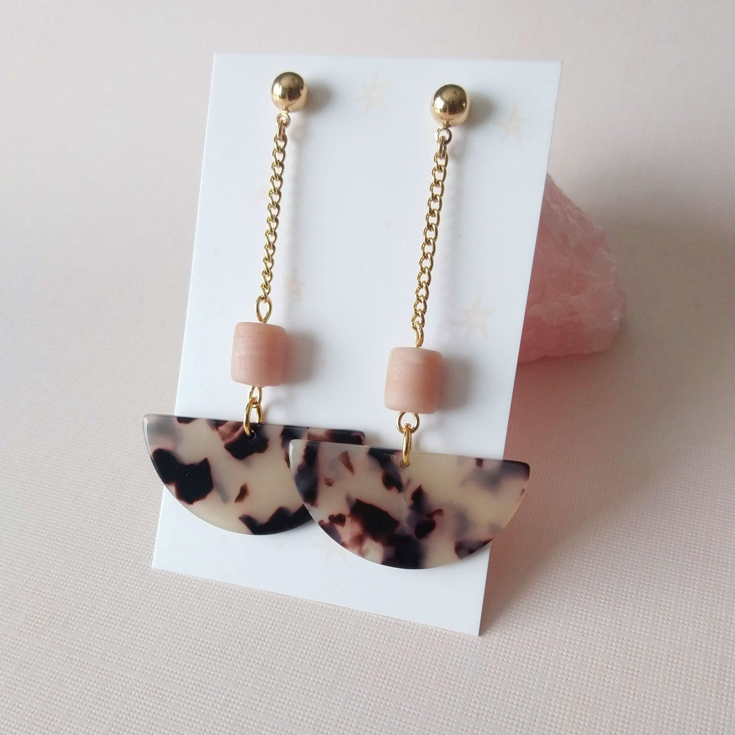 Noah Earrings in coffee or light pink (SD1373)