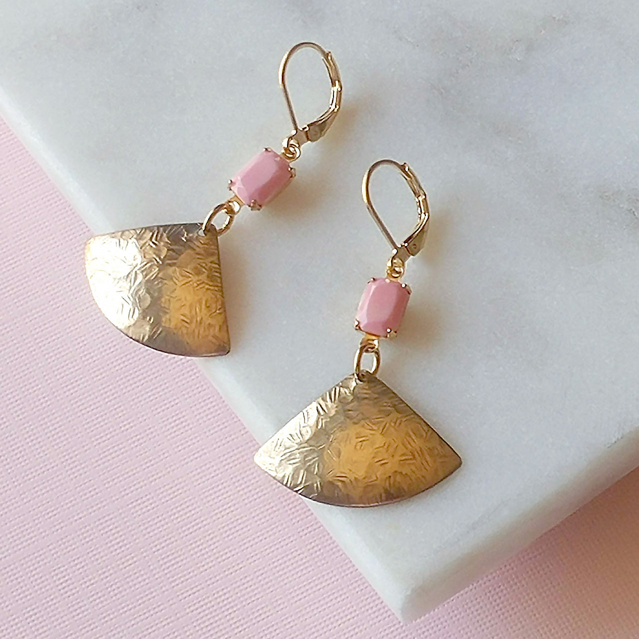 matte pink brass earrings fan
