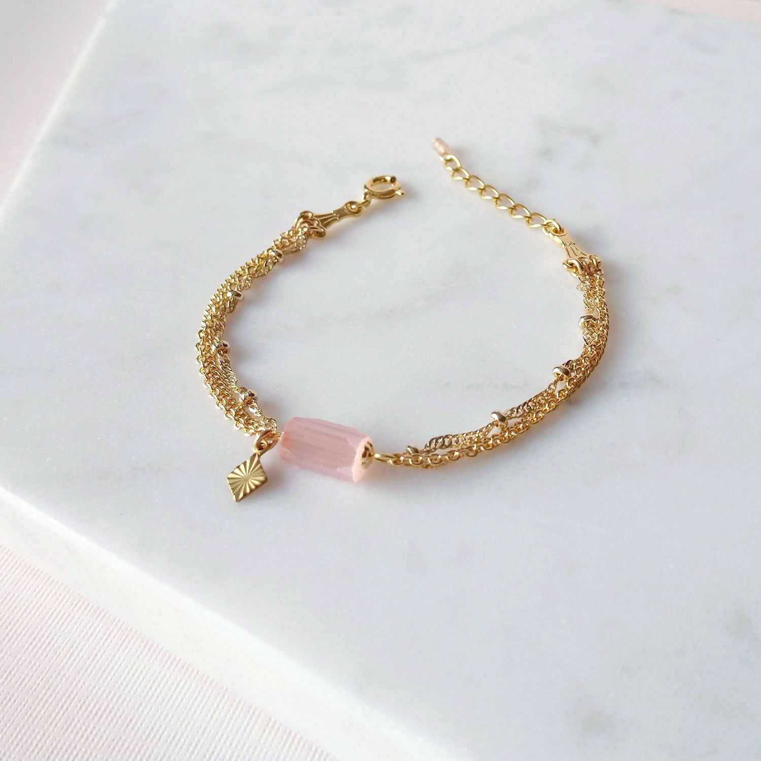 gold chain charm bracelet multilayers