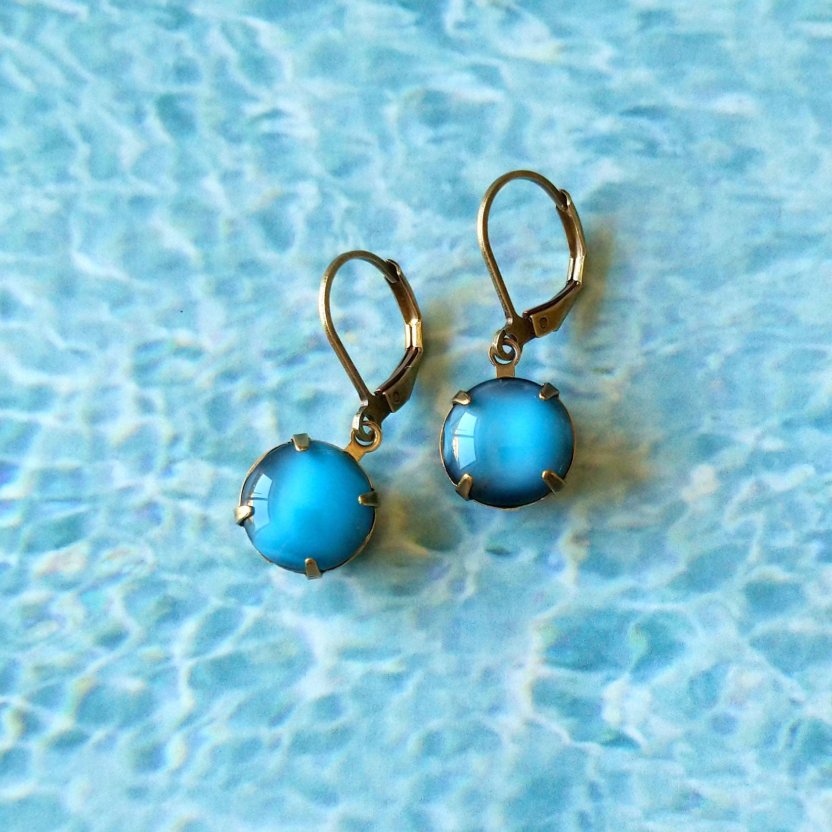 swimming pool blue earrings