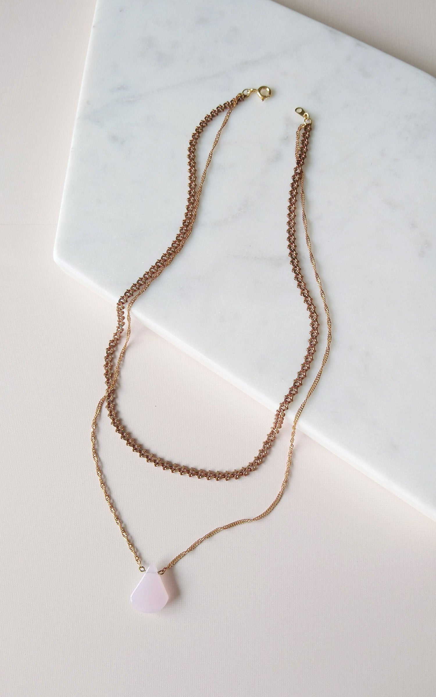 opal pink drop necklace double chain