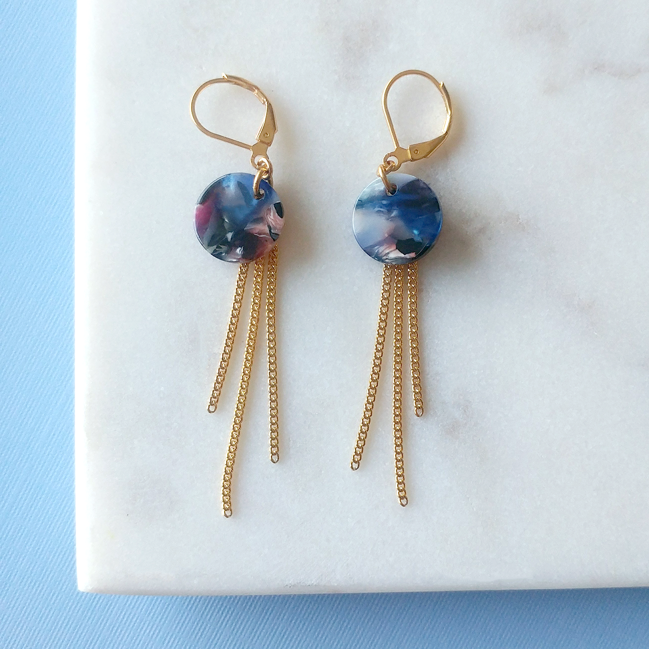 Swirl Earrings in blue (SD1407)