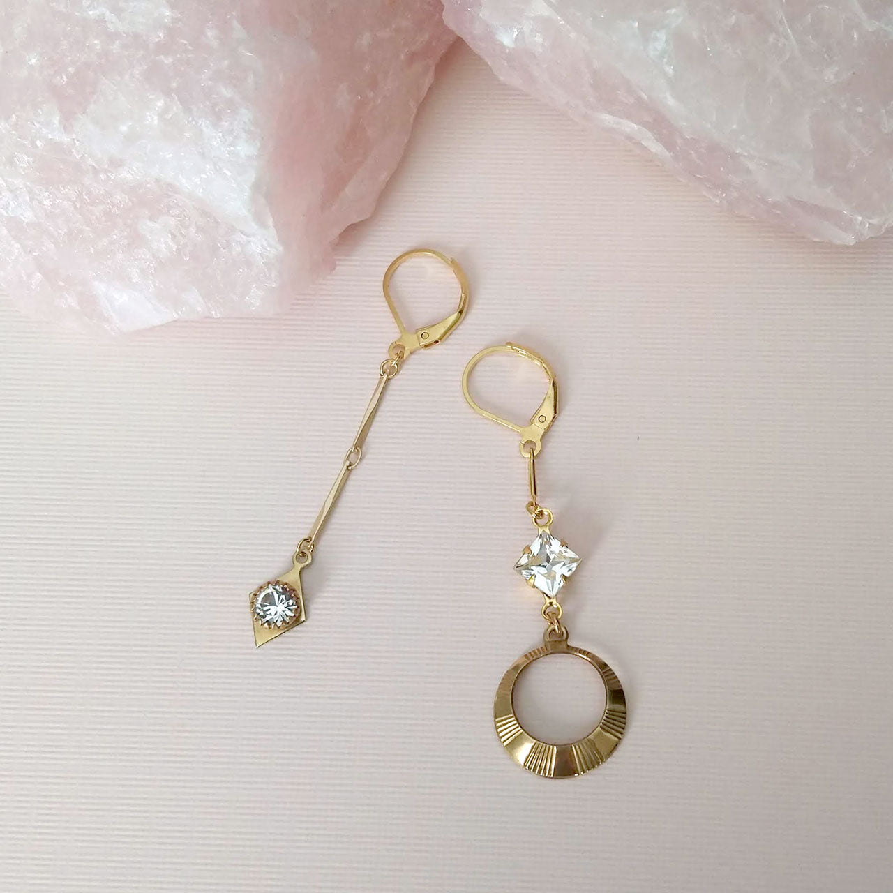 Asymmetrical earrings crystal gold brass