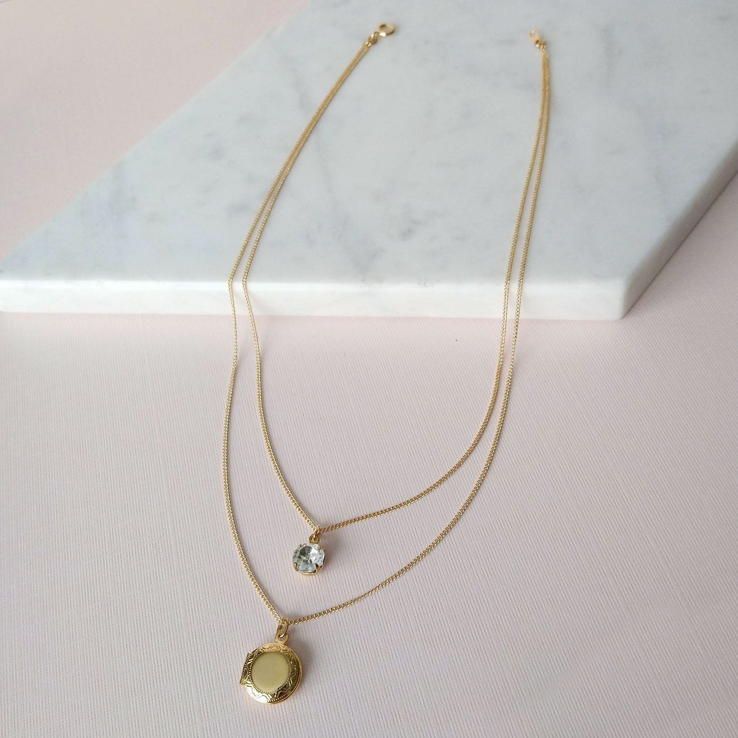 double chain necklace with locket and stone