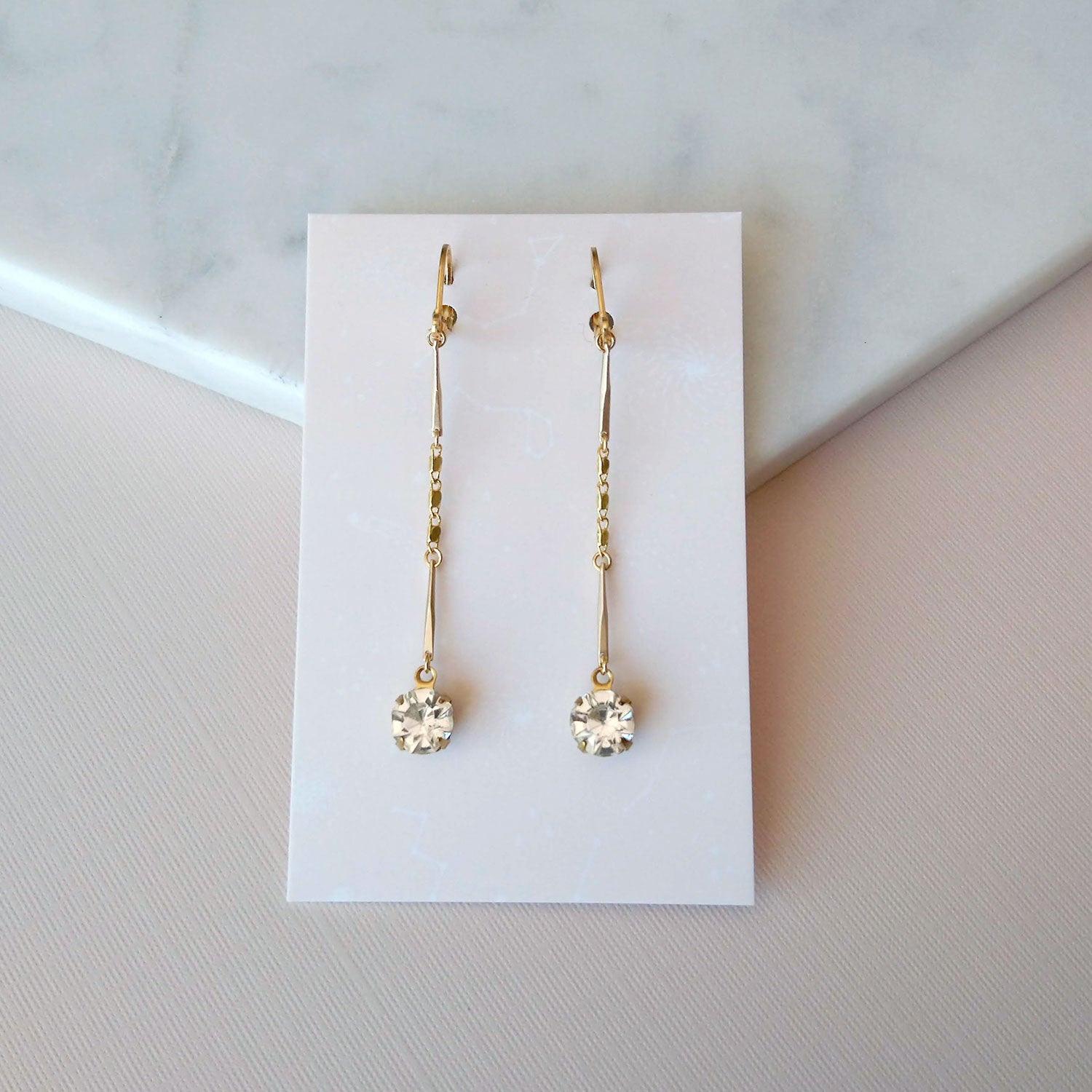 crystal and gold earrings for prom or bridesmaids