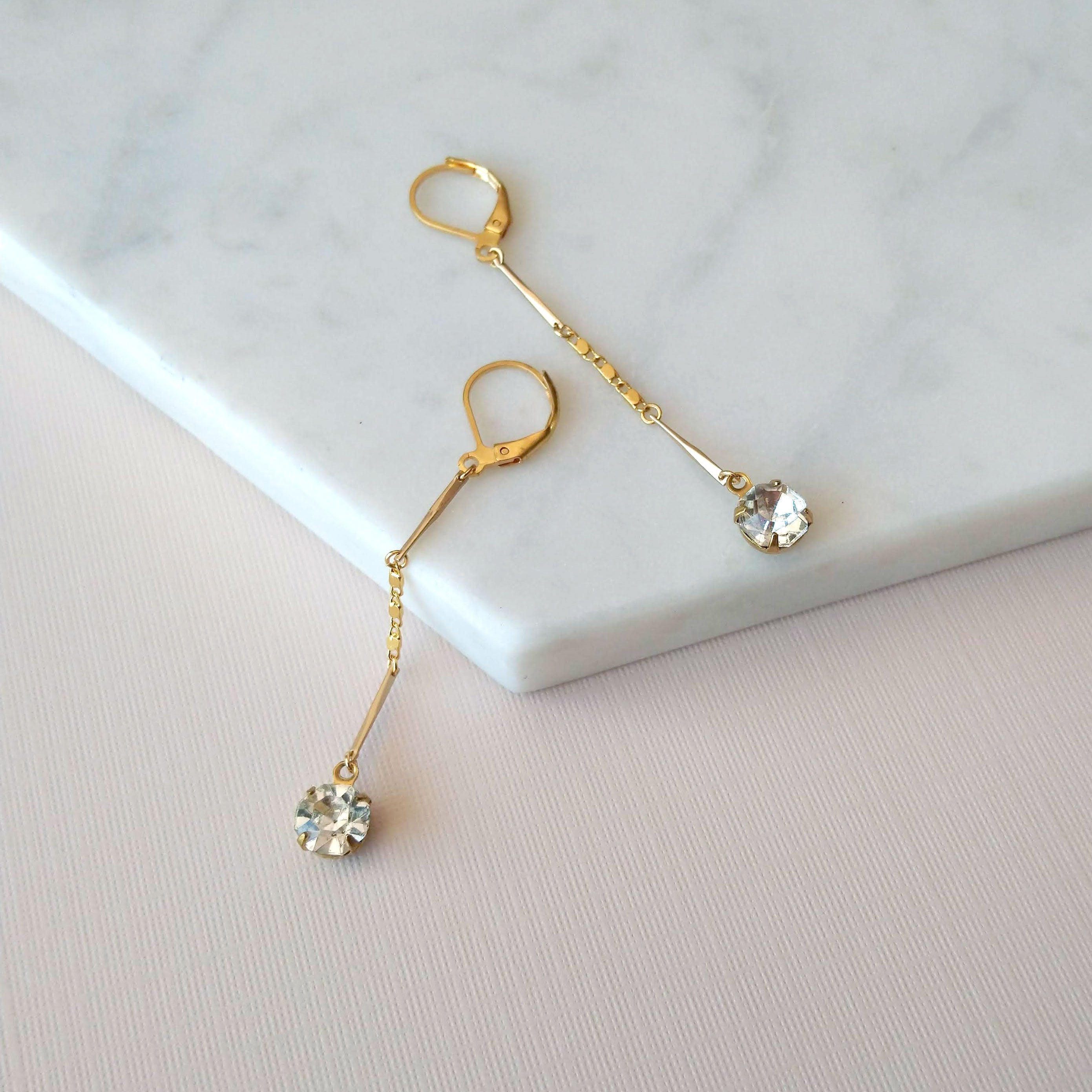 classic prom earrings crystal and gold