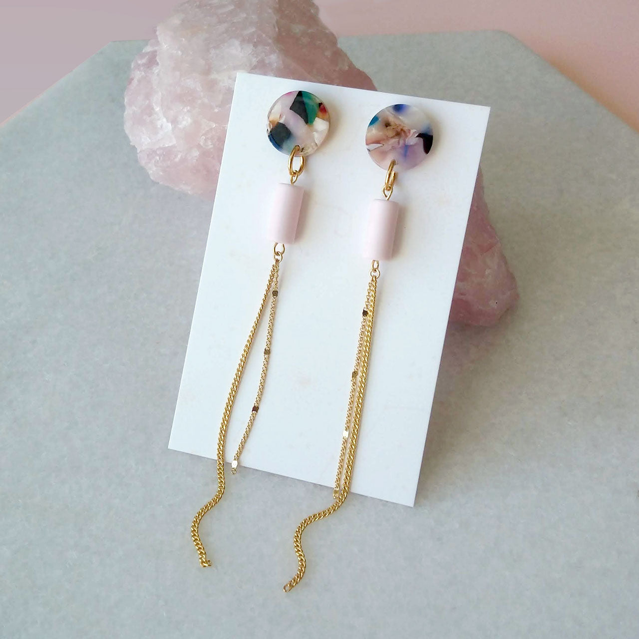 acetate earrings with tassel chains pink