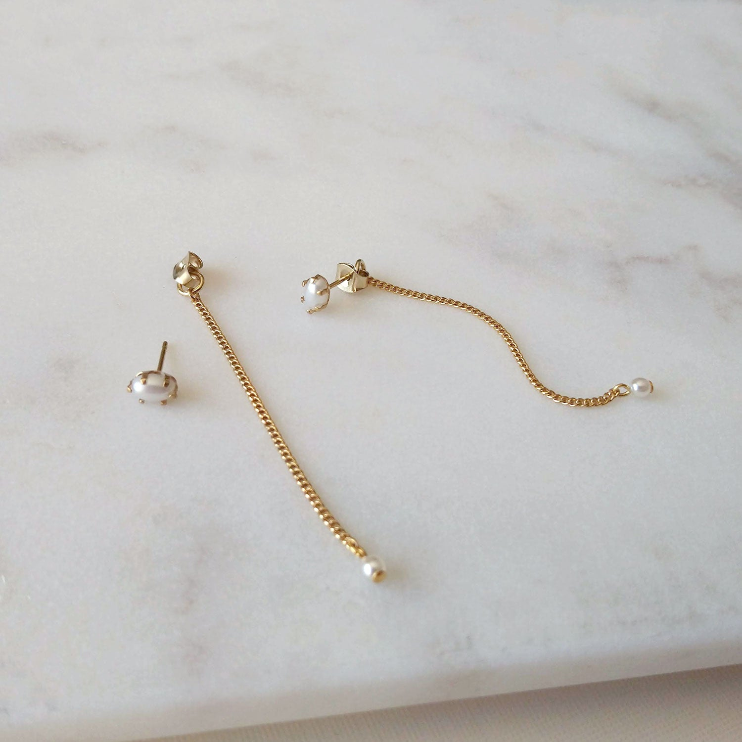 pearl ear posts with chains