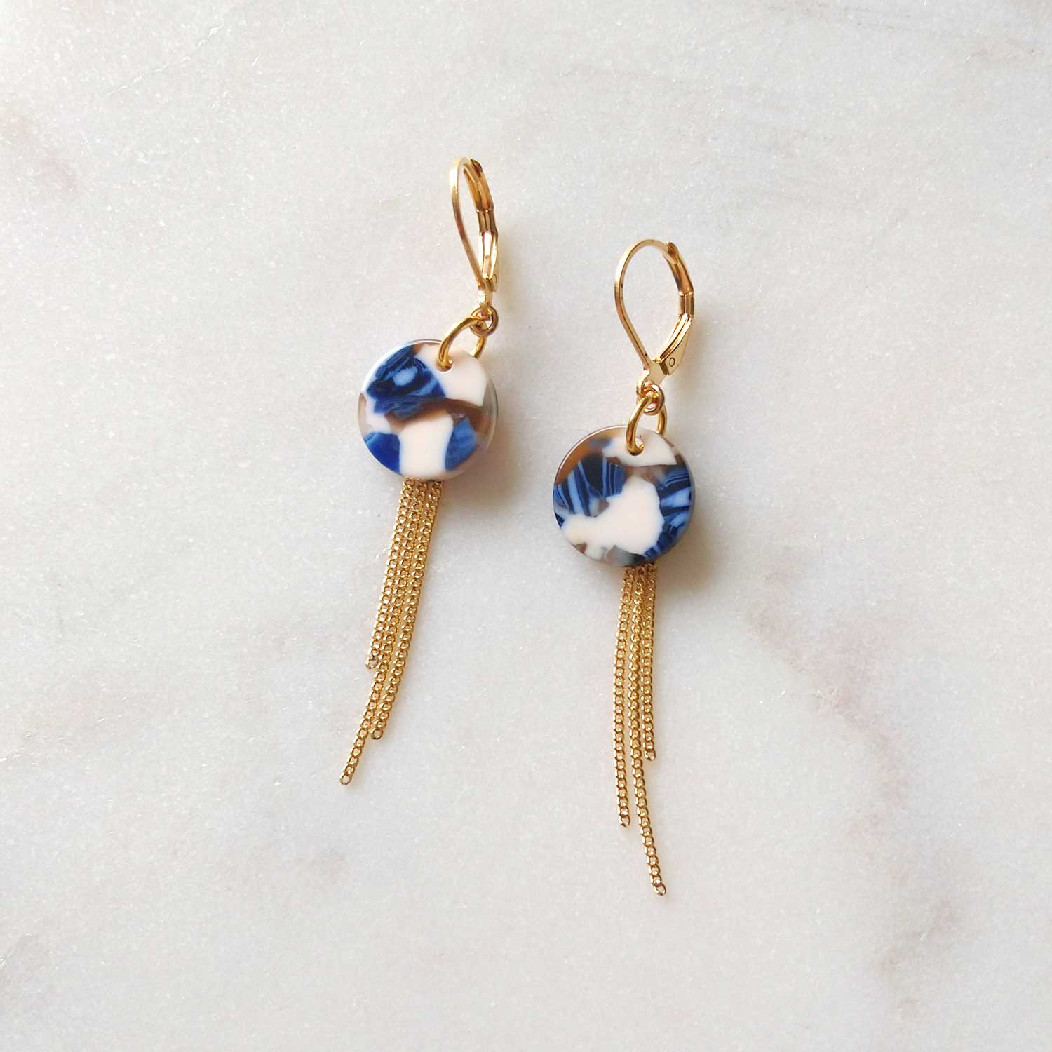 Blue and white earrings gold