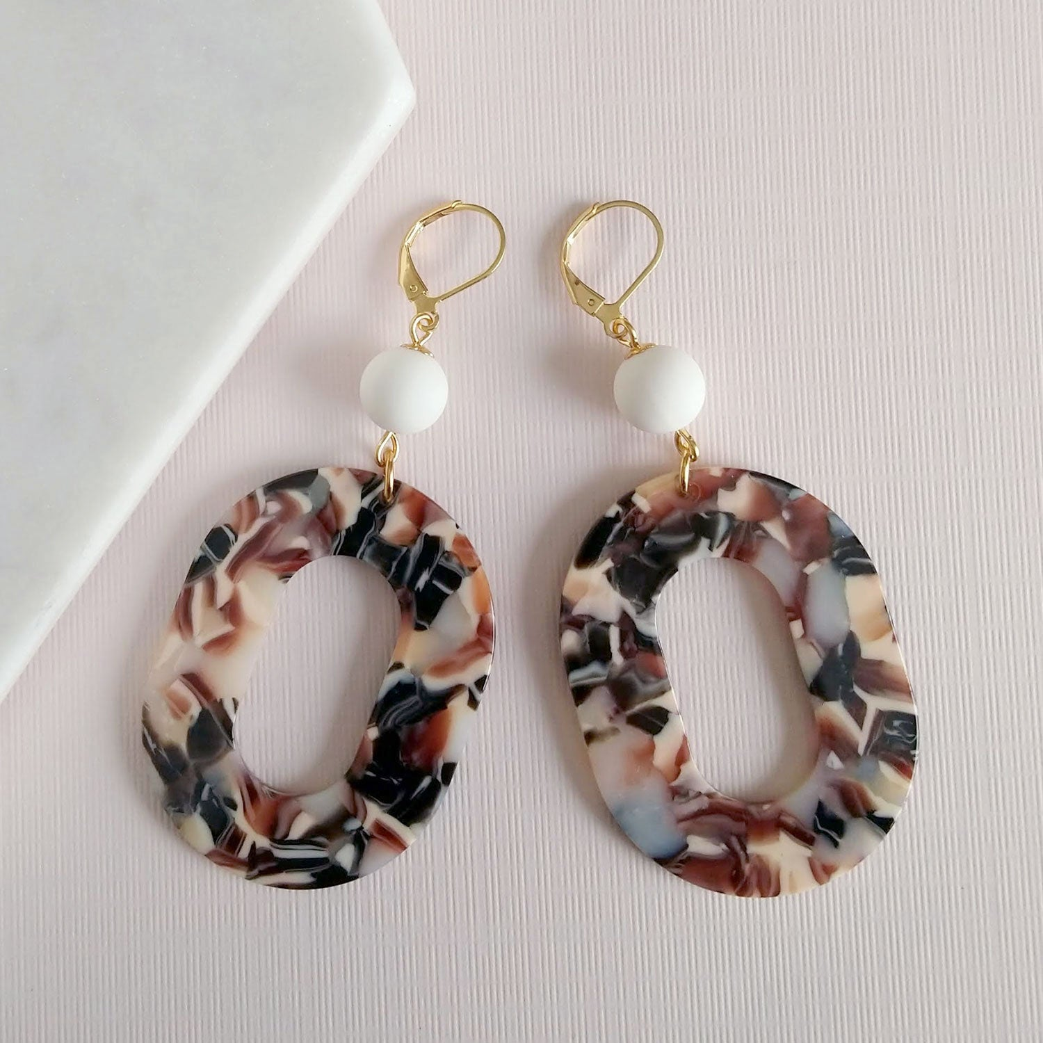 acetate earrings with vintage beads