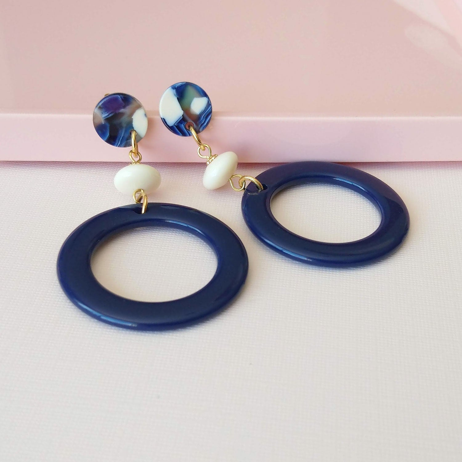 hoop earrings navy cream acetate vintage beads