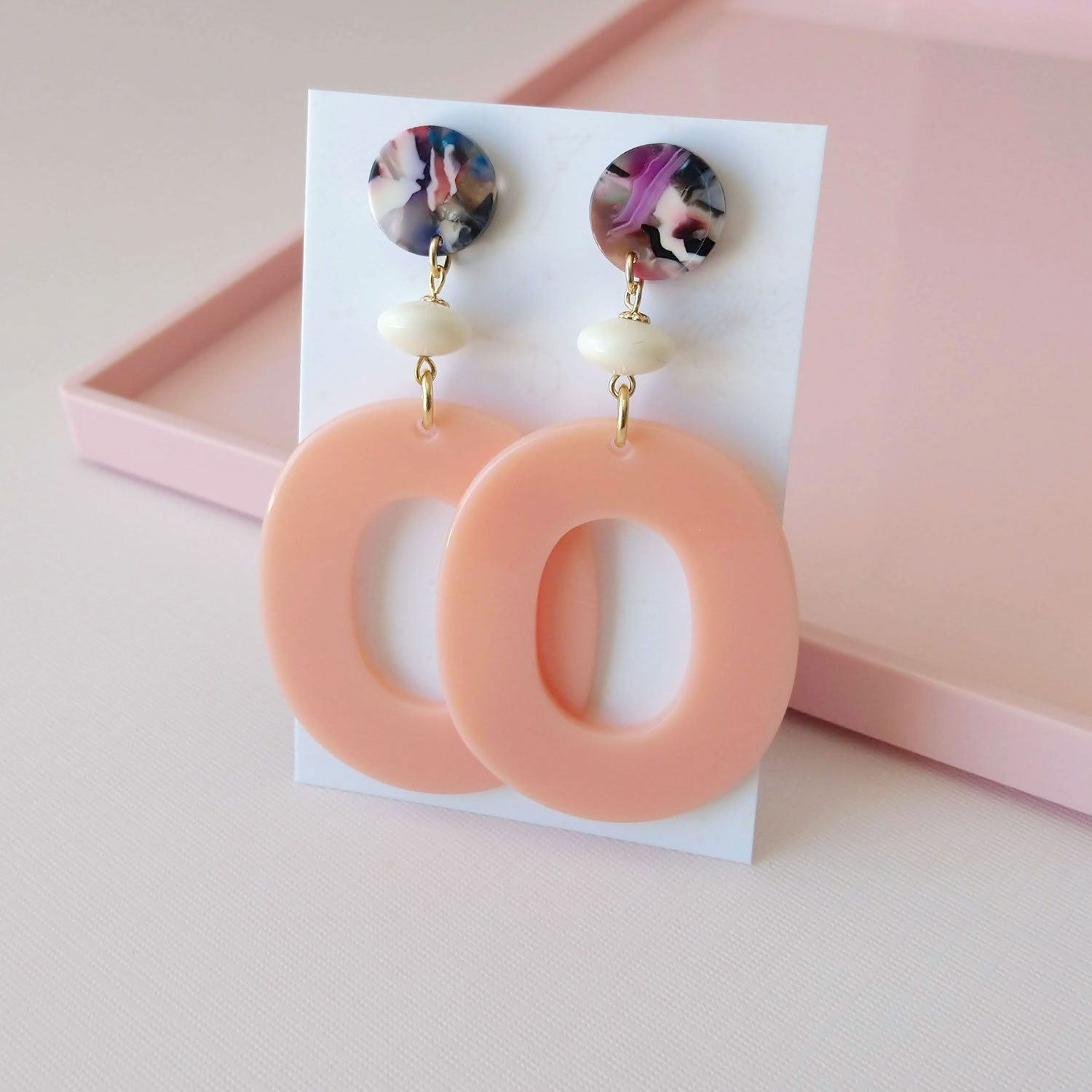 statement earrings acrylic hoops peach acetate