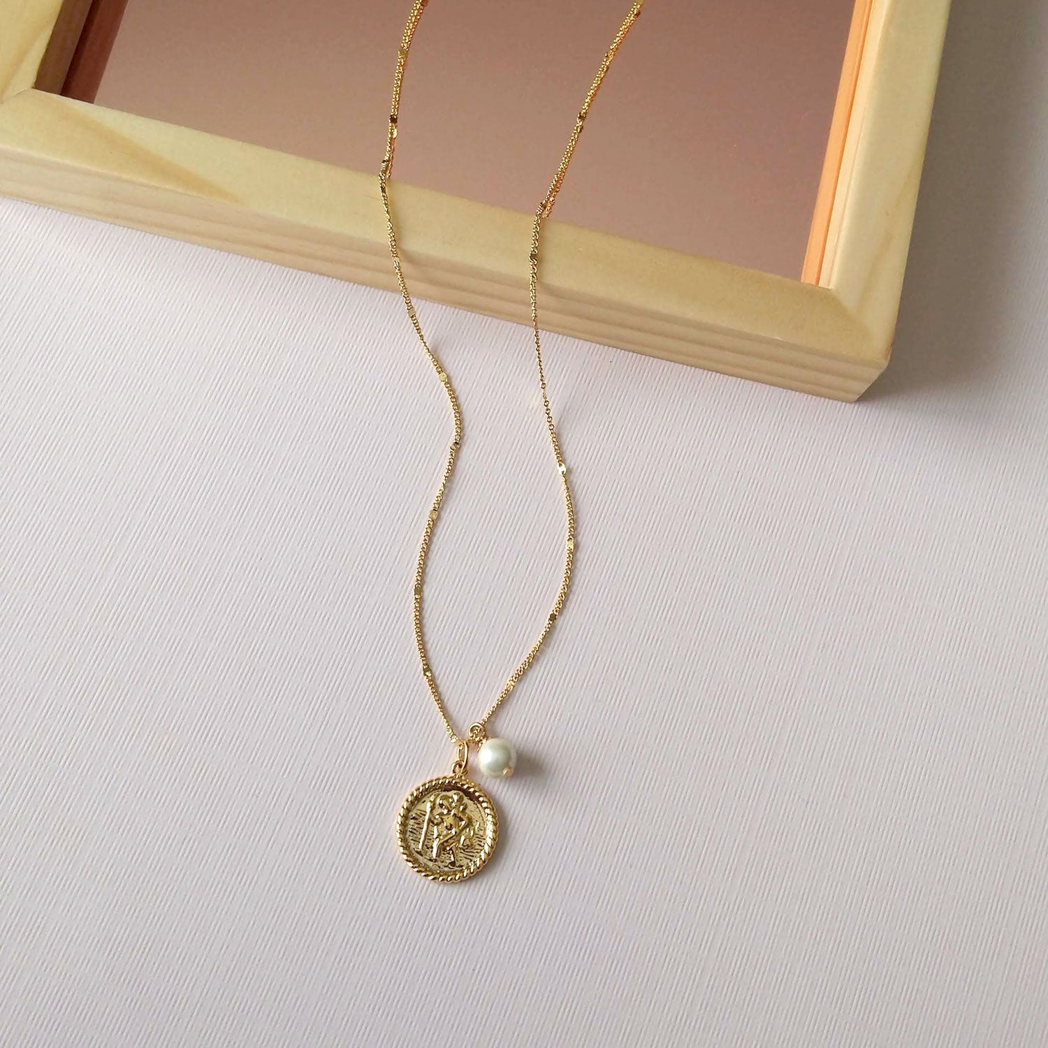 charm necklace saint christopher medal
