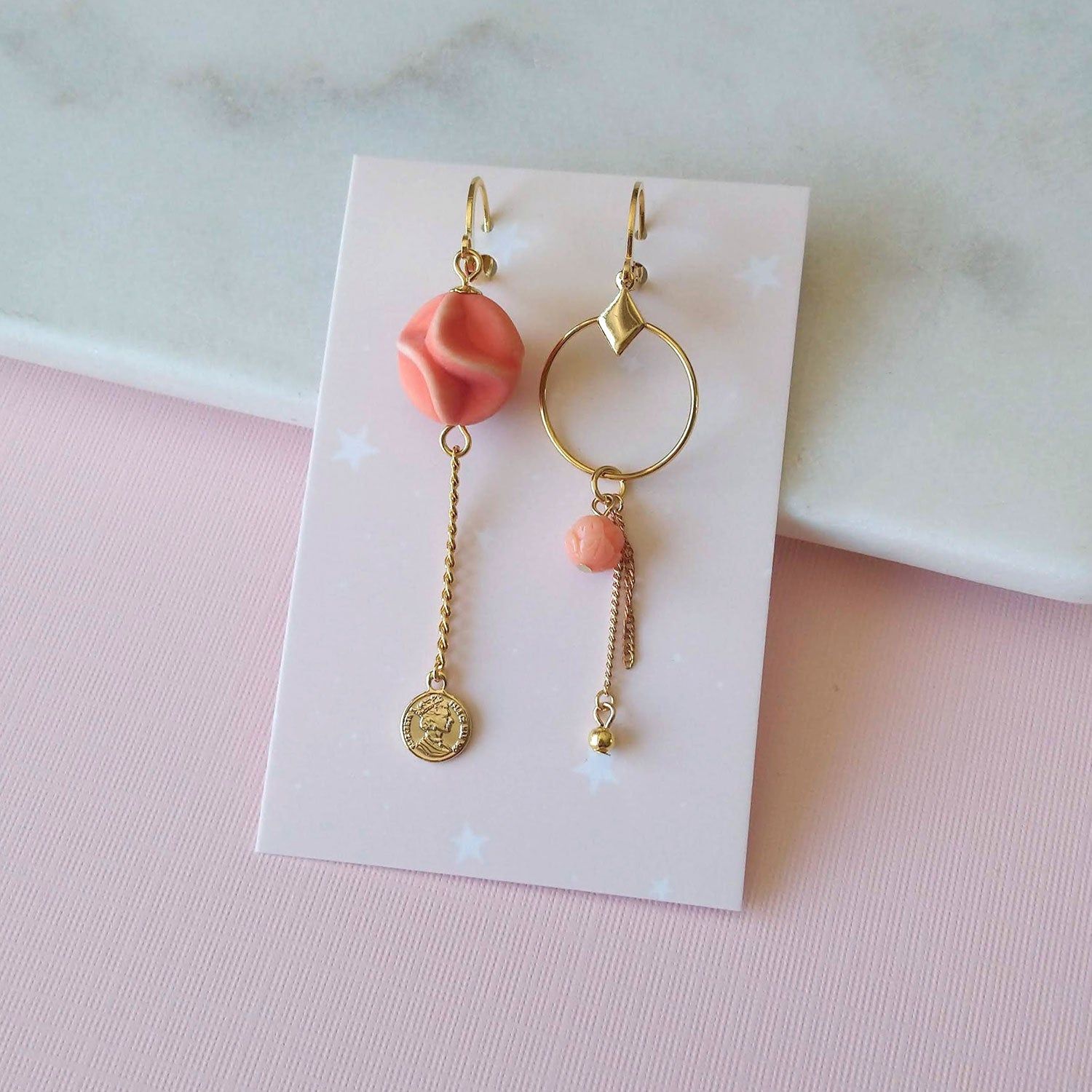 asymmetrical earrings orange gold