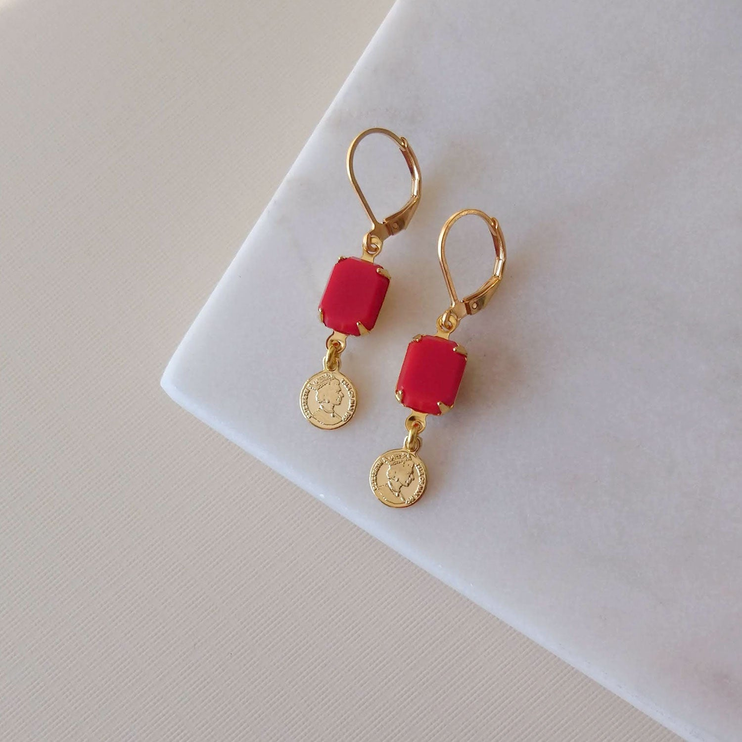 Cherry red earrings lucky charm coin