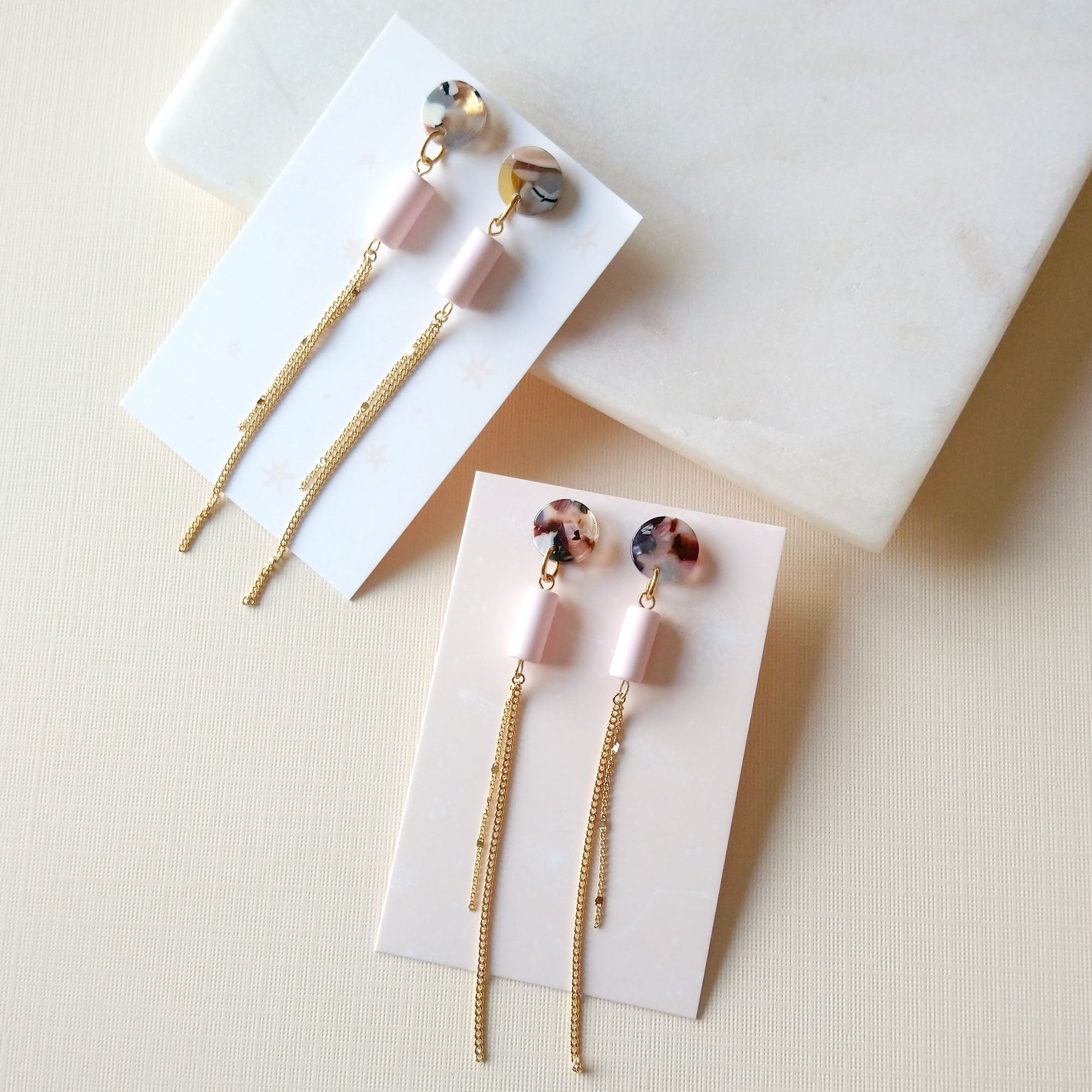 acetate earrings with vintage cylinder pink beads and long chains