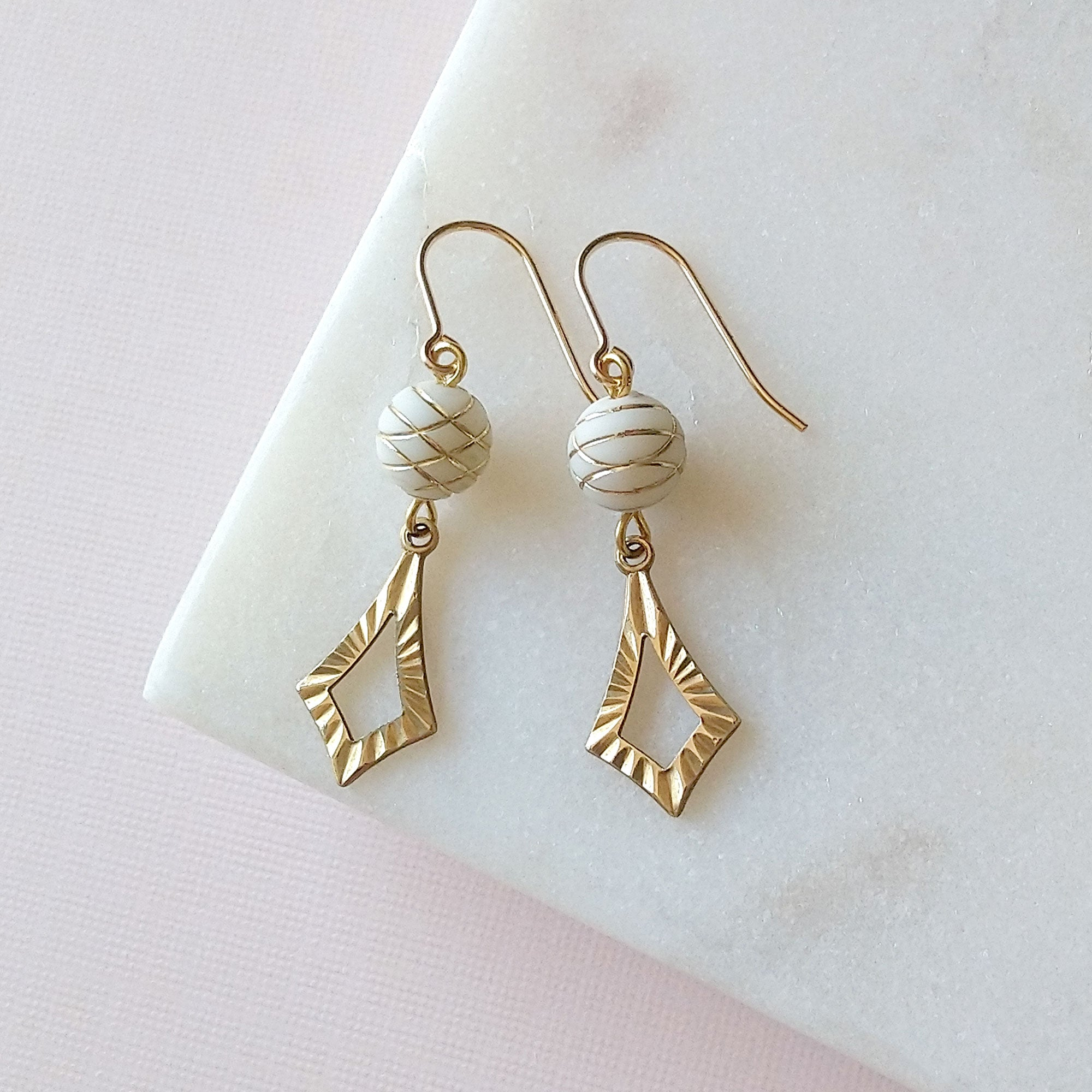 white and gold earrings 14k gold filled