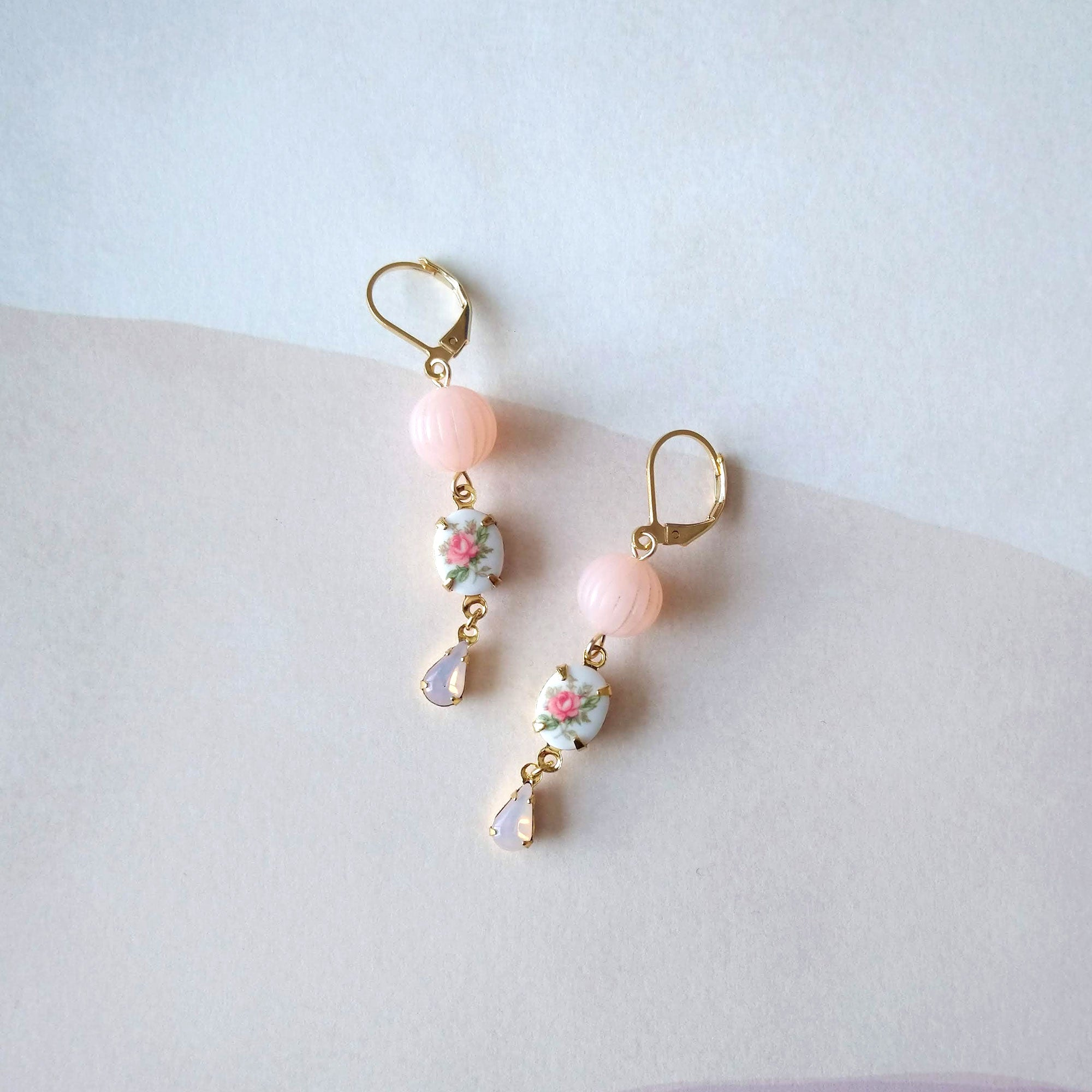vintage style earrings opal pink rose cabochon