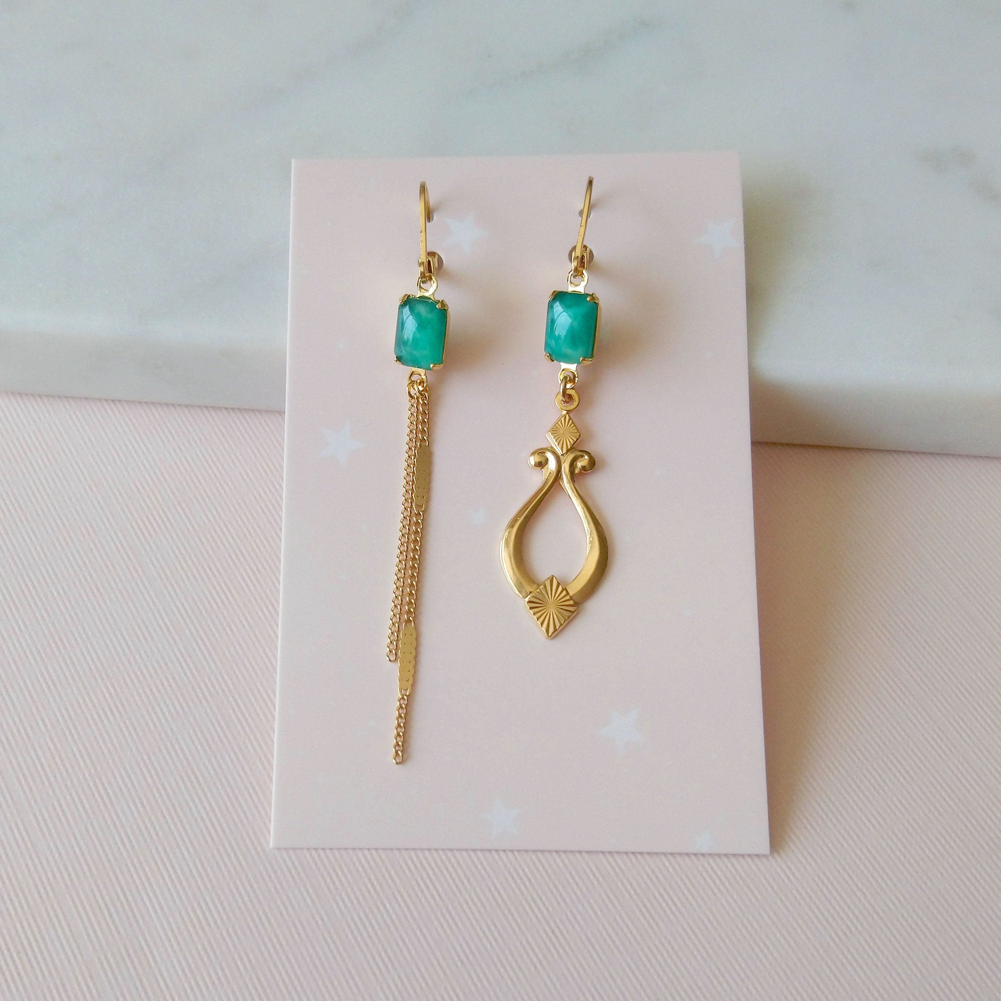 Sonate II Earrings in jade green (SD1552)
