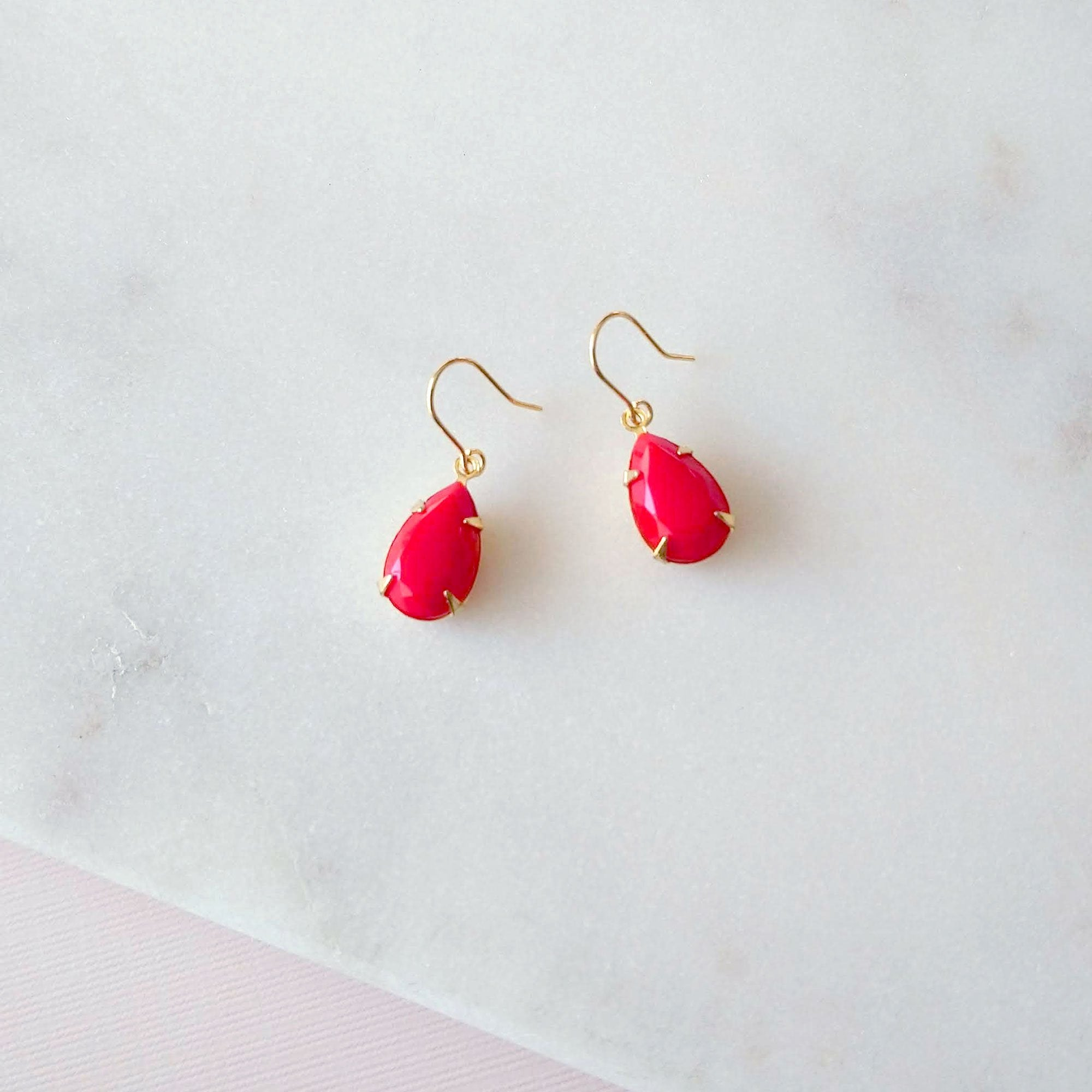Simple red earrings