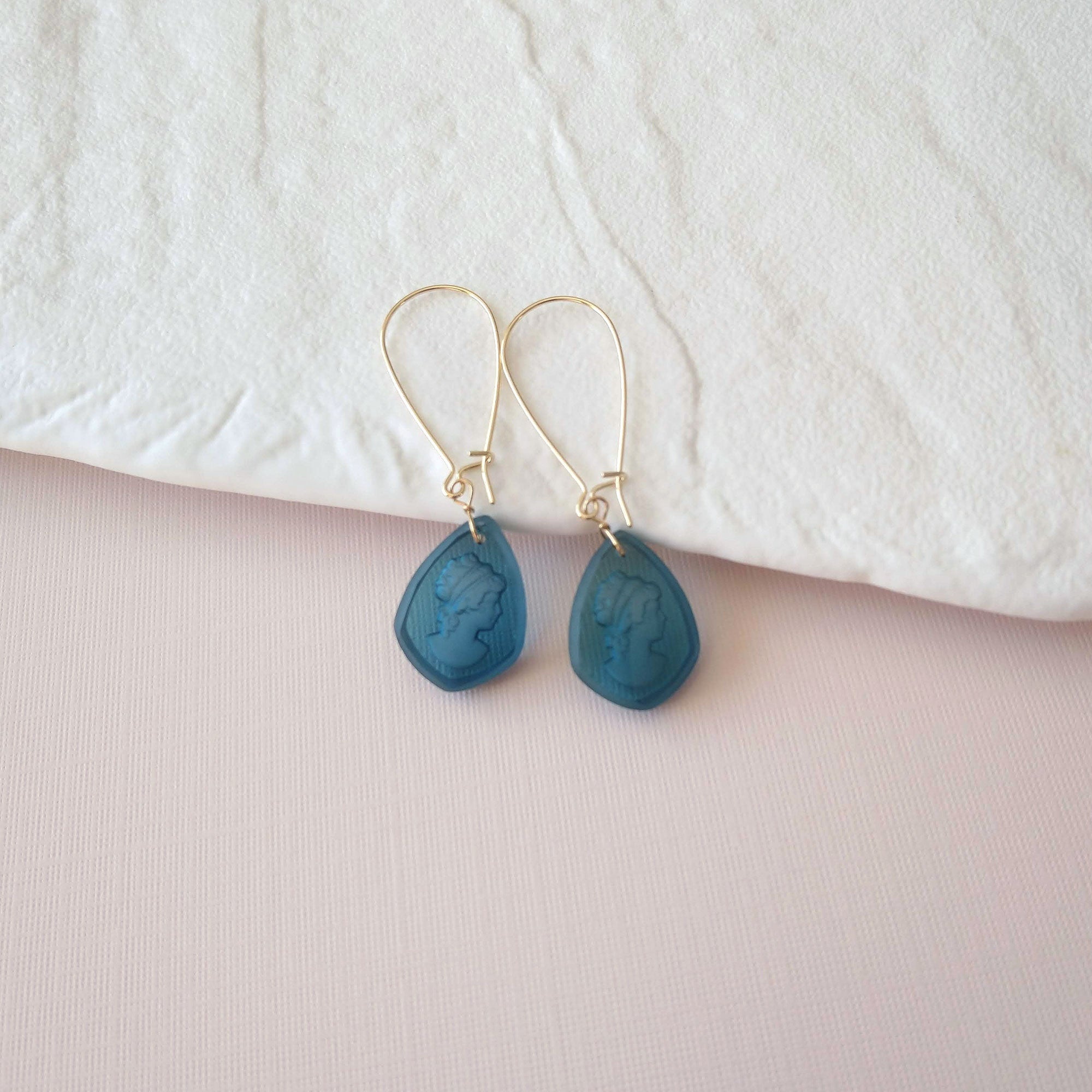 intaglio cameo earrings teal